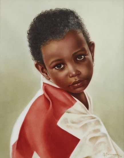 """Painting Of Black Child"" by Maria Saldarriaga, painted on porcelain"