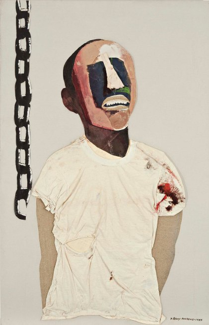 """Study for Portrait of Oppression (Homage to Black South Africans)"", by Benny Andrews (1985)"