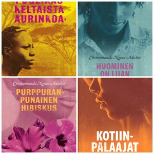 All four of Ms. Adichie´s books covers in Finnish